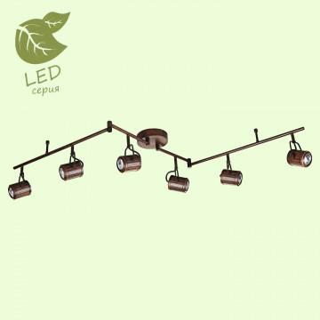 Потолочный светильник с регулировкой направления света Lussole Loft Clifton GRLSP-9136, IP21, 6xGU10x5,5W, коричневый, металл
