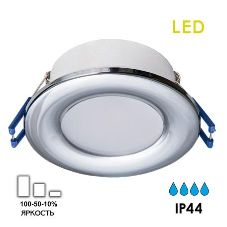 Светодиодная панель Citilux Акви CLD008011, IP44, LED 5W 3500K 400lm, хром, пластик