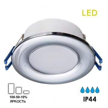 Встраиваемая светодиодная панель Citilux Акви CLD008011, IP44, LED 5W 3500K 400lm, хром, пластик