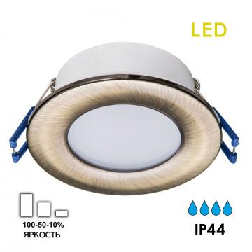 Встраиваемая светодиодная панель Citilux Акви CLD008013, IP44, LED 5W 3500K 400lm, бронза, пластик