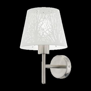 Бра Eglo Hambleton 49767, 1xE27x60W, никель, белый, металл