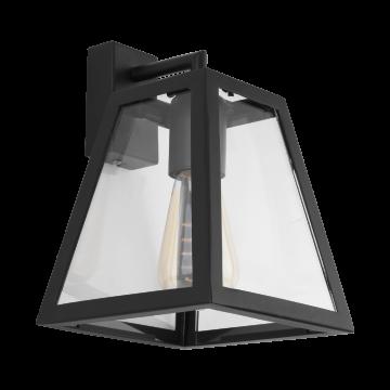 Бра Eglo Amesbury 1 49889, 1xE27x60W, черный, прозрачный, металл, стекло