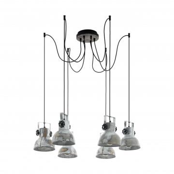 Люстра-паук с регулировкой направления света Eglo Trend & Vintage Industrial Barnstaple 49732, 6xE27x40W, коричневый, сталь, дерево, металл