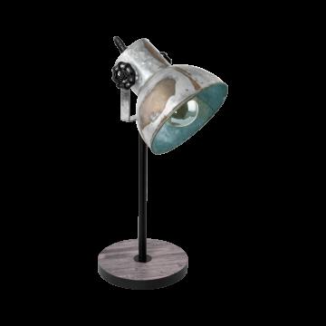 Настольная лампа Eglo Barnstaple 49718, 1xE27x40W, коричневый, сталь, дерево, металл