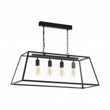 Подвесной светильник Eglo Trend & Vintage Industrial Amesbury 1 49886, 4xE27x60W, черный, прозрачный, металл, стекло с металлом