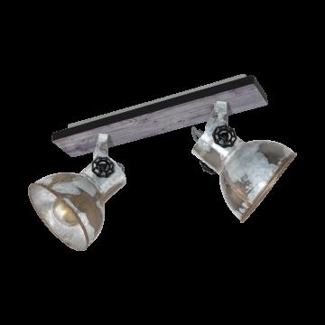 Потолочный светильник с регулировкой направления света Eglo Barnstaple 49649, 2xE27x40W, коричневый, сталь, дерево, металл