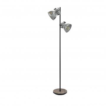 Торшер Eglo Trend & Vintage Industrial Barnstaple 49722, 2xE27x40W, коричневый, сталь, дерево, металл