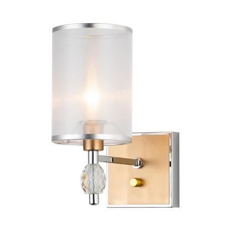 Бра Favourite Stine 2705-1W, 1xE14x40W, матовое золото, белый, металл с хрусталем, текстиль