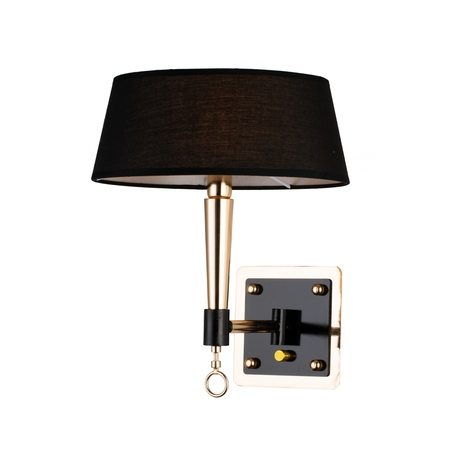 Бра Favourite Lord 2708-1W, 1xE14x40W, черный, золото, металл, текстиль