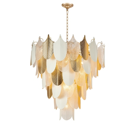 Подвесная люстра Favourite Pulcher 2619-37P, 37xE14x40W, золото, белый, металл, керамика, стекло