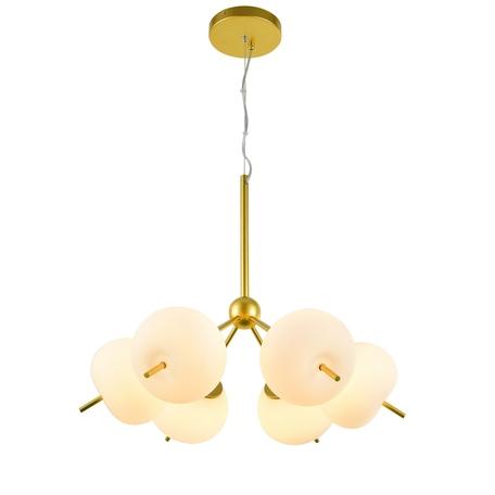 Подвесная люстра Favourite Bacca 2643-6P, 6xG9x40W, матовое золото, белый, металл, стекло