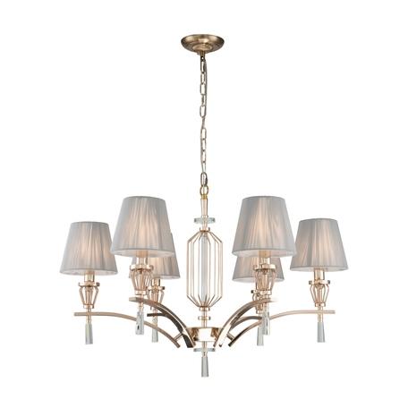 Подвесная люстра Favourite Sade 2690-6P, 6xE14x40W, золото, серый, металл со стеклом, текстиль