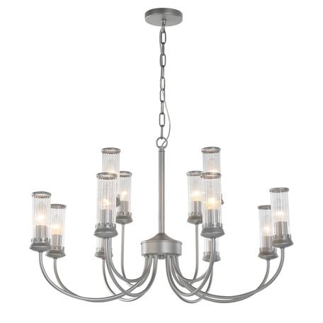 Подвесная люстра Favourite Mollis 2693-12P, 12xE14x40W, серебро, прозрачный, металл, стекло