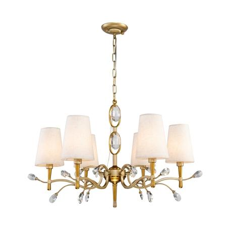 Подвесная люстра Favourite Luca 2703-6P, 6xE14x40W, золото, бежевый, металл с хрусталем, текстиль