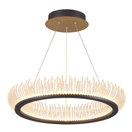 Подвесной светодиодный светильник Odeon Light Fire Ring 3863/61L, LED 61W 3000K 6100lm, венге, металл, металл с пластиком