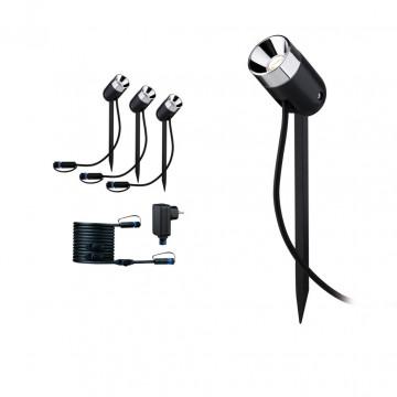 Светодиодный прожектор Paulmann Plug & Shine Spot Pike 94242, IP65, LED 3,5W, черный, металл, пластик