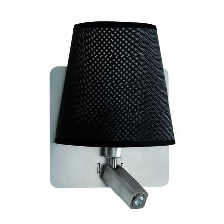 Бра с регулировкой направления света с дополнительной подсветкой Mantra Bahia 5231, никель, черный, металл, текстиль