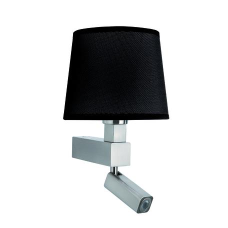 Бра с регулировкой направления света с дополнительной подсветкой Mantra Bahia 5234+5238, матовый хром, черный, металл, текстиль