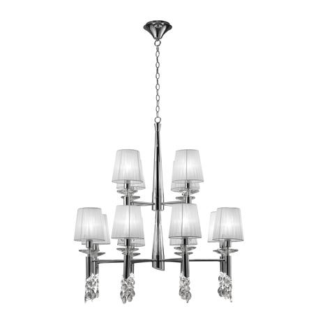 Подвесная люстра Mantra Tiffany 3850, хром, белый, прозрачный, металл, текстиль, хрусталь