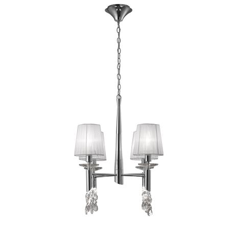 Подвесная люстра Mantra Tiffany 3852, хром, белый, прозрачный, металл, текстиль, хрусталь
