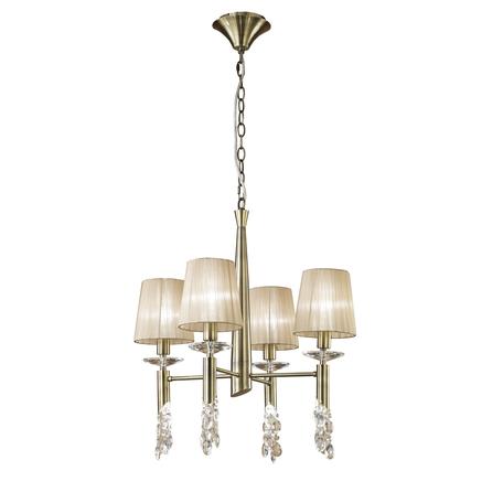 Подвесная люстра Mantra Tiffany 3872, бронза, бежевый, прозрачный, металл, текстиль, хрусталь