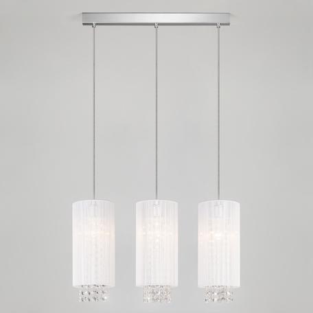 Подвесной светильник Eurosvet Sirena 1188/3 хром, 3xE14x60W, хром, белый, прозрачный, металл, текстиль, хрусталь