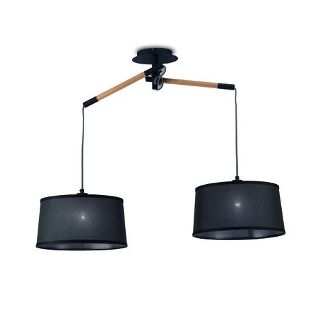 Подвесной светильник Mantra Nordica II 4931, коричневый, черный, дерево, металл, текстиль