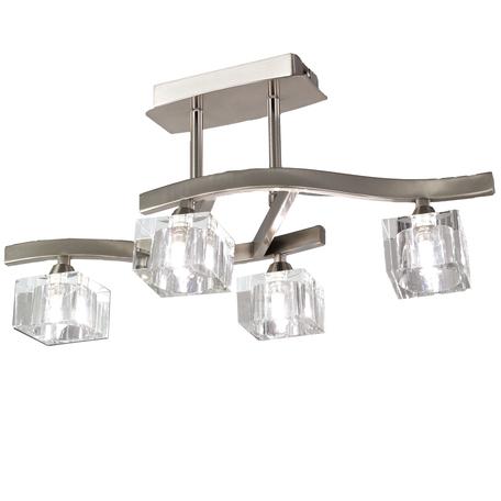Потолочная люстра Mantra Cuadrax 1117, никель, матовый, прозрачный, металл, стекло