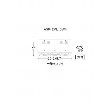 Схема с размерами Arte Lamp A5942PL-3WH