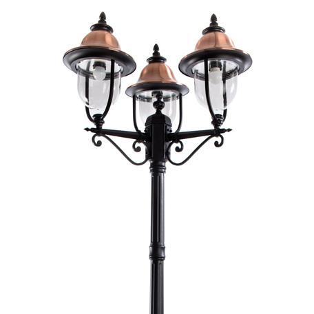 Уличный фонарь Arte Lamp Barcelona A1486PA-3BK, IP44, 3xE27x75W, черный, медь, прозрачный, металл, металл с пластиком