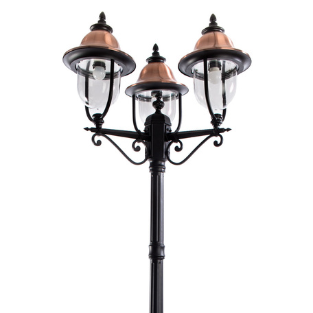 Уличный фонарь Arte Lamp Barcelona A1486PA-3BK, IP44, 3xE27x75W, черный, медь, прозрачный, металл, пластик