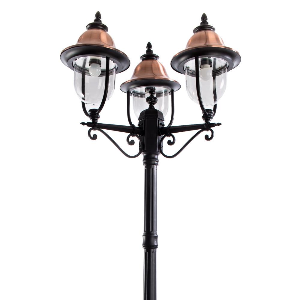 Уличный фонарь Arte Lamp Barcelona A1486PA-3BK, IP44, 3xE27x75W, черный, медь, прозрачный, металл, металл с пластиком - фото 1