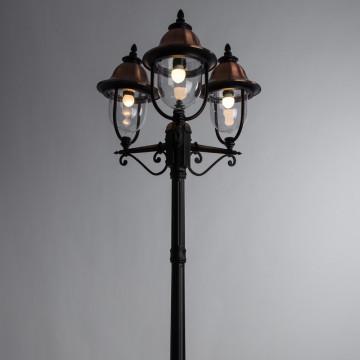 Уличный фонарь Arte Lamp Barcelona A1486PA-3BK, IP44, 3xE27x75W, черный, медь, прозрачный, металл, металл с пластиком - миниатюра 2