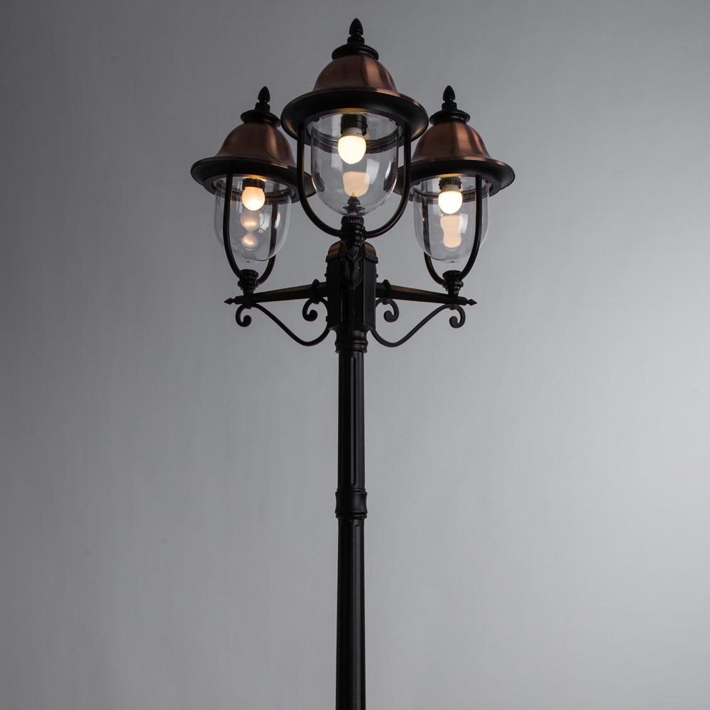 Уличный фонарь Arte Lamp Barcelona A1486PA-3BK, IP44, 3xE27x75W, черный, медь, прозрачный, металл, металл с пластиком - фото 2