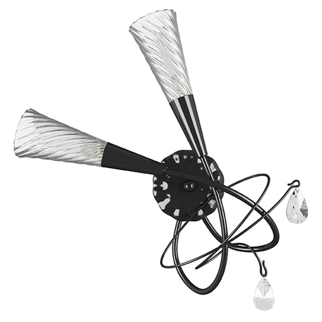 Бра Lightstar Aereo 711627, 2xG9x25W, черный, прозрачный, металл, стекло, хрусталь