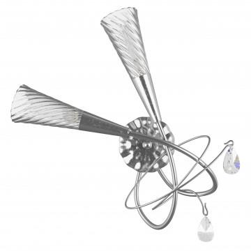 Бра Lightstar Aereo 711629, 2xG9x25W, серебро, прозрачный, металл, стекло, хрусталь