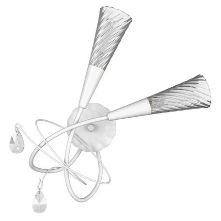 Бра Lightstar Aereo 711630, 2xG9x25W, белый, прозрачный, металл, стекло, хрусталь