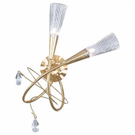 Бра Lightstar Aereo 711633, 2xG9x25W, матовое золото, прозрачный, металл, стекло, хрусталь