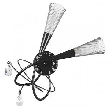 Бра Lightstar Aereo 711637, 2xG9x25W, черный, прозрачный, металл, стекло, хрусталь