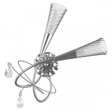 Бра Lightstar Aereo 711639, 2xG9x25W, серебро, прозрачный, металл, стекло, хрусталь