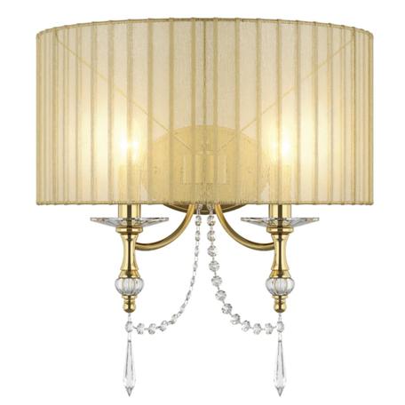 Бра Lightstar Paralume 725623, 2xE14x40W, золото, матовое золото, прозрачный, металл с хрусталем, текстиль, хрусталь