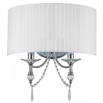 Бра Lightstar Paralume 725626, 2xE14x40W, хром, белый, прозрачный, металл с хрусталем, текстиль, хрусталь