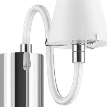Бра Lightstar Bianco 760616, 1xG9x40W, хром, белый, металл со стеклом, стекло - миниатюра 4