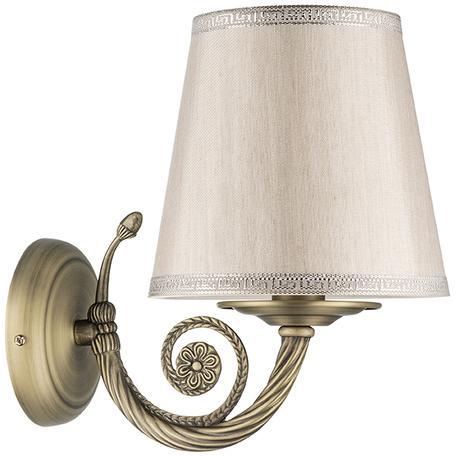 Бра Lightstar Engenuo 779508, 1xE14x40W, бронза, серебро, бежевый, металл, текстиль