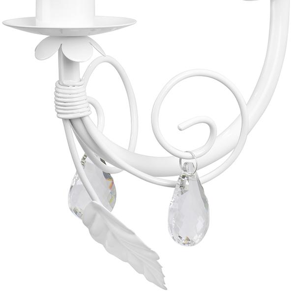 Бра Lightstar Modesto 781610, 1xE14x40W, белый, прозрачный, металл, текстиль, хрусталь - фото 4