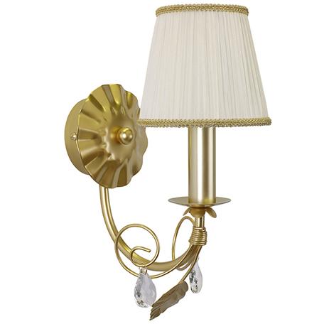 Бра Lightstar Modesto 781612, 1xE14x40W, матовое золото, белый, прозрачный, металл, текстиль, хрусталь - миниатюра 1