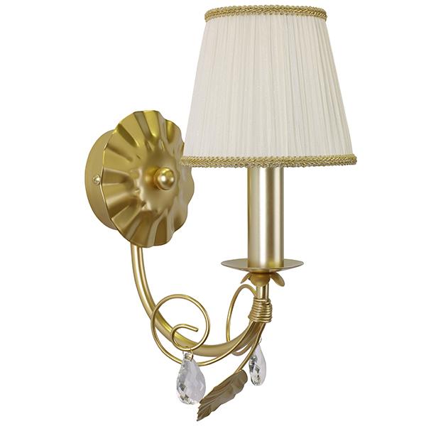 Бра Lightstar Modesto 781612, 1xE14x40W, матовое золото, белый, прозрачный, металл, текстиль, хрусталь - фото 1