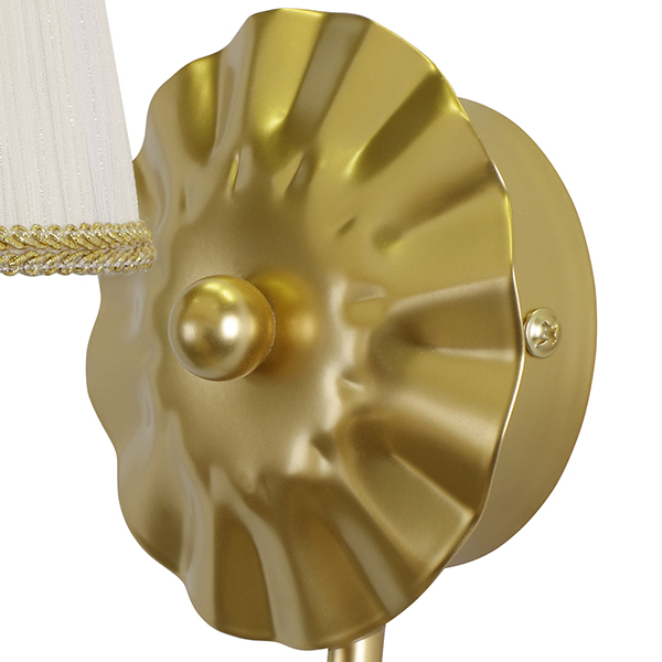 Бра Lightstar Modesto 781612, 1xE14x40W, матовое золото, белый, прозрачный, металл, текстиль, хрусталь - фото 3