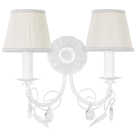 Бра Lightstar Modesto 781620, 2xE14x40W, белый, прозрачный, металл, текстиль, хрусталь