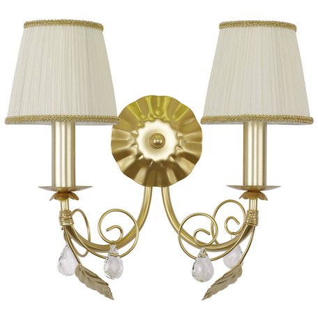 Бра Lightstar Modesto 781622, 2xE14x40W, матовое золото, белый, прозрачный, металл, текстиль, хрусталь